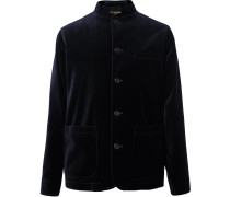 Navy Nehru-Collar Cotton-Velvet Jacket