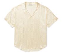 Camp-Collar Embellished Silk Shirt
