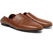 Collapsible-heel Leather Loafers - Brown