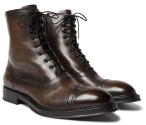 Shearling-lined Leather Boots - Brown