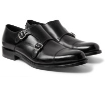 Bristol Cap-toe Polished-leather Monk-strap Shoes - Black