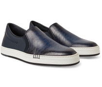 Vitello Pythagora Patterned And Rubberised Leather Sneakers