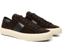 Cambridge Leather-trimmed Velvet Sneakers - Brown