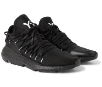 Kusari Leather And Suede-trimmed Neoprene Sneakers