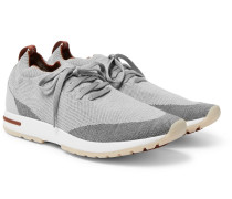 360 Flexy Walk Leather-trimmed Knitted Wool Sneakers - Gray