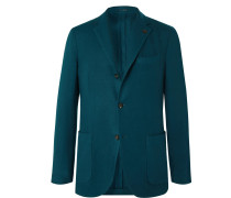 Teal Brushed Cashmere and Wool-Blend Twill Blazer