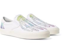Skel Toe Tie-Dyed Leather-Appliquéd Canvas Slip-On Sneakers