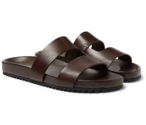 Chadwick Hand-painted Leather Slides - Dark brown