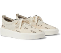 101 Leather-Trimmed Suede and Logo-Print Canvas Sneakers