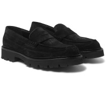 Suede and Calf Hair Penny Loafers