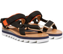 Leather-trimmed Webbing Sandals