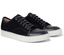 Cap-toe Suede And Leather Sneakers - Navy