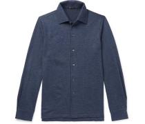 Slim-Fit Puppytooth Cashmere Shirt