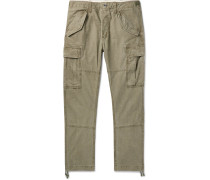 Tapered Washed-Cotton Cargo Trousers