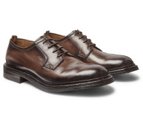 Leeds Polished-leather Derby Shoes - Dark brown