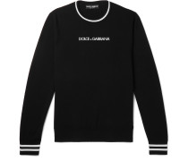 Slim-Fit Contrast-Tipped Logo-Embroidered Virgin Wool Sweater