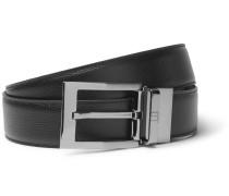 3.5cm Black Cross-grain Leather Belt - Black
