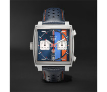 Monaco Gulf Edition Automatic 39mm Steel And Leather Watch - Blue