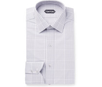 Grey Slim-fit Prince Of Wales Checked Cotton-poplin Shirt - Gray