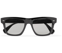 + Oliver Peoples Galleria Square-frame Silver-tone And Acetate Polarised Sunglasses - Black