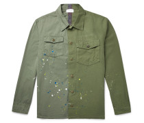 Paint-splattered Slub Cotton Shirt
