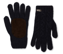 Suede-panelled Merino Wool-blend Gloves
