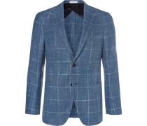 Blue Checked Wool, Silk And Linen-blend Blazer