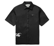 Dondi White Printed Cotton-blend Twill Shirt - Black