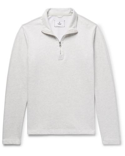 Brushed Loopback Cotton-jersey Half-zip Sweatshirt