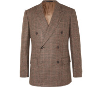 Slim-Fit Brown Double-Breasted Prince of Wales Checked Wool Suit Jacket
