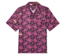 + Paula's Ibiza Camp-collar Floral-print Cotton-gauze Shirt - Black