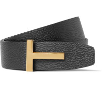 4cm Black And Brown Reversible Full-grain Leather Belt - Black