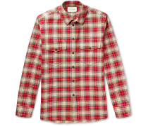 Embroidered Checked Cotton-twill Shirt