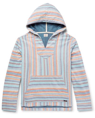 Baja Striped Cotton Hoodie - Blue