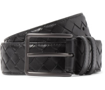 3cm Black Intrecciato Leather Belt