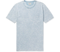 Striped Slub Cotton-jersey T-shirt - Blue