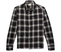 Checked Wool-blend Shirt - Black