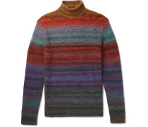 Slim-fit Striped Knitted Rollneck Sweater