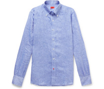 Button-down Collar Mélange Linen Shirt