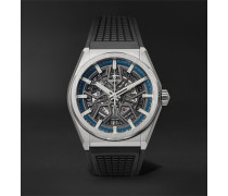 Defy Classic Automatic Skeleton 41mm Brushed-titanium And Rubber Watch - Gray
