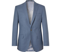 Blue Slim-Fit Wool Suit Jacket