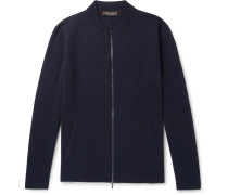 Slim-fit Virgin Wool Zip-up Cardigan - Navy
