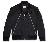 Zip-detailed Twill And Corduroy Blouson Jacket - Midnight blue