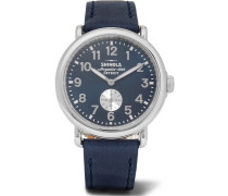The Runwell 41mm Stainless Steel And Leather Watch - Blue