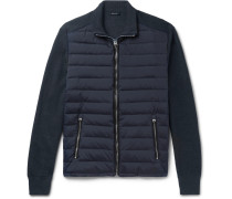 Ribbed Wool And Quilted Shell Down Jacket - Midnight blue
