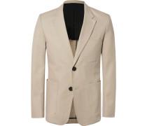 Beige Slim-fit Cotton-twill Suit Jacket