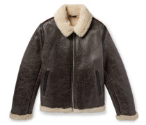 Shearling-lined Textured-leather Jacket - Dark brown
