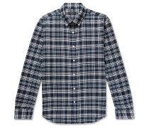 Slim-Fit Button-Down Collar Checked Cotton-Flannel Shirt
