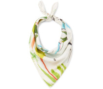 Printed Cotton And Silk-blend Scarf - White