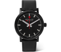 Ev02 Brushed Stainless Steel And Leather Watch - Black